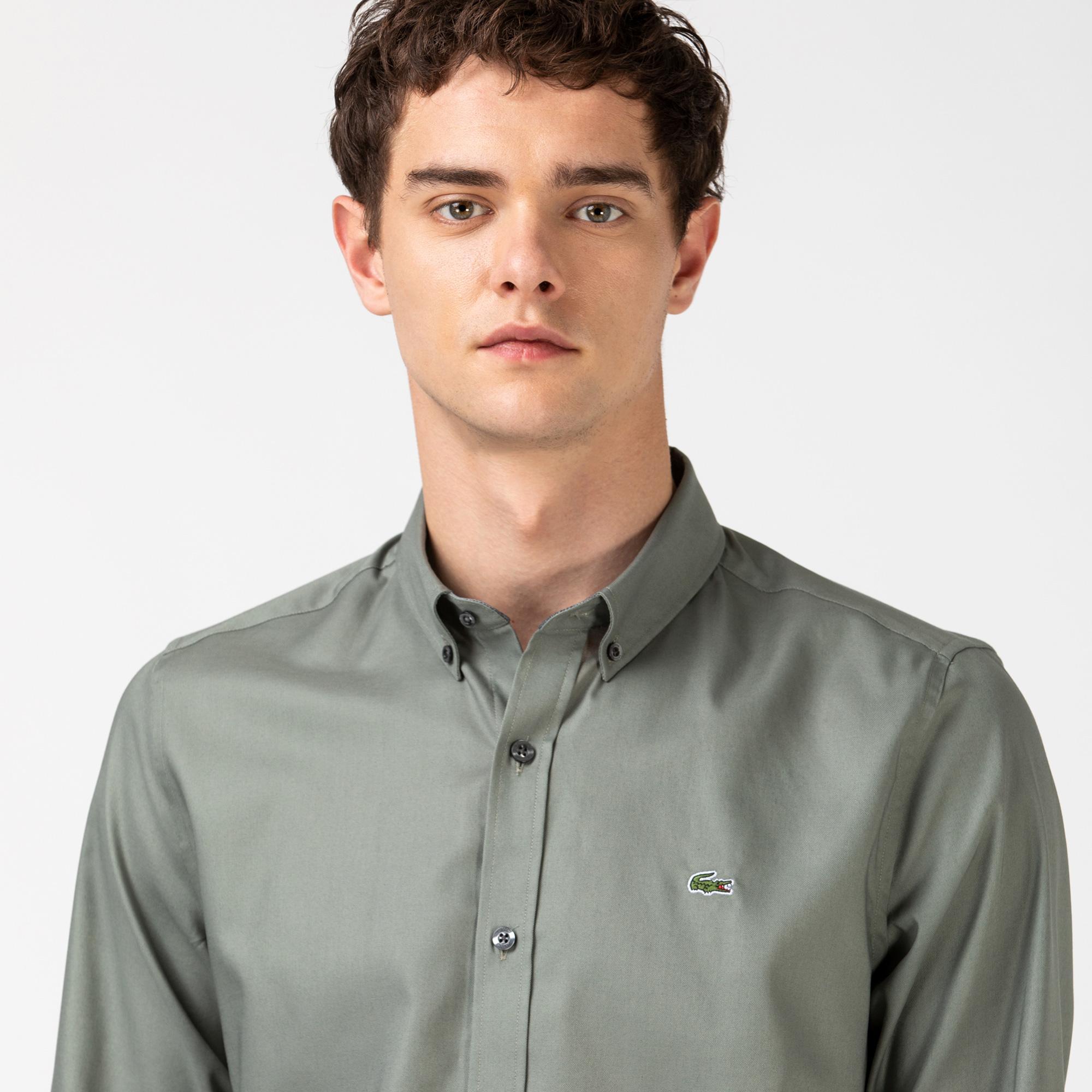 Lacoste Erkek Slim Fit Blok Desenli Haki Gömlek