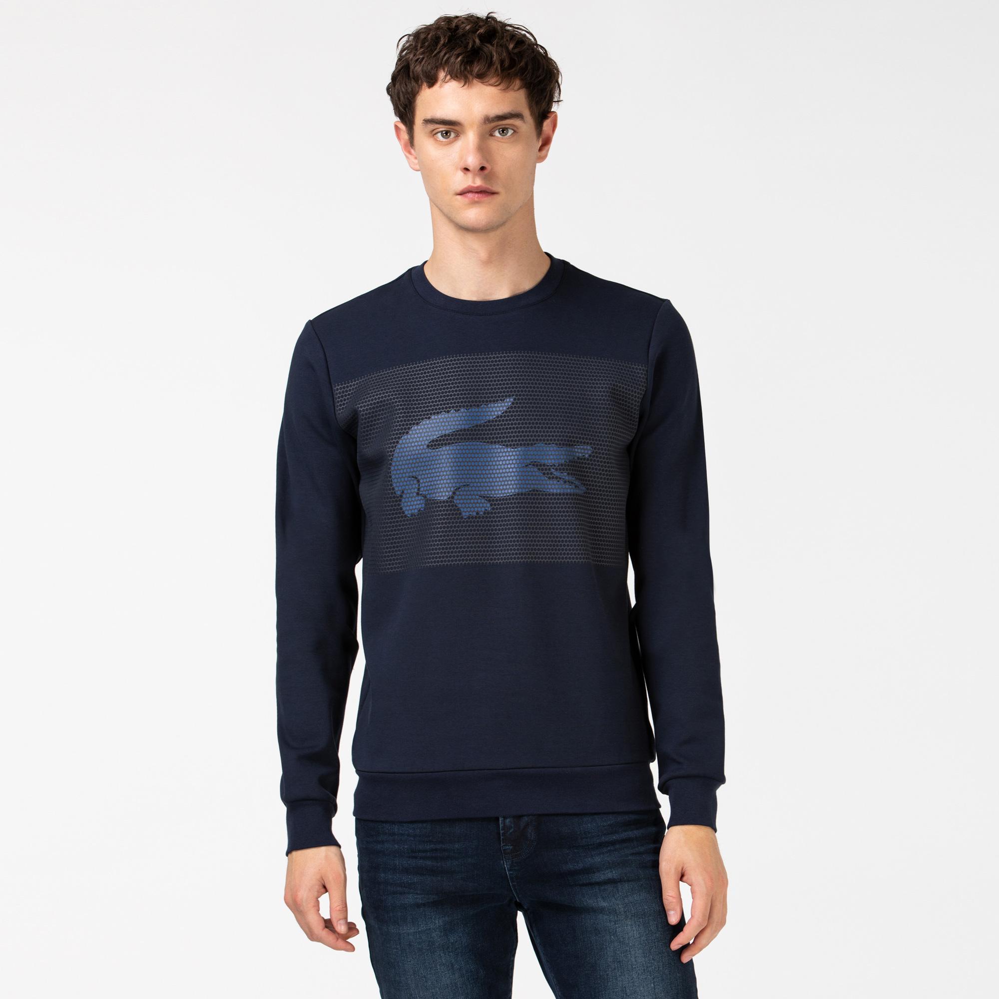 Lacoste Erkek Timsah Baskılı Bisiklet Yaka Lacivert Sweatshirt