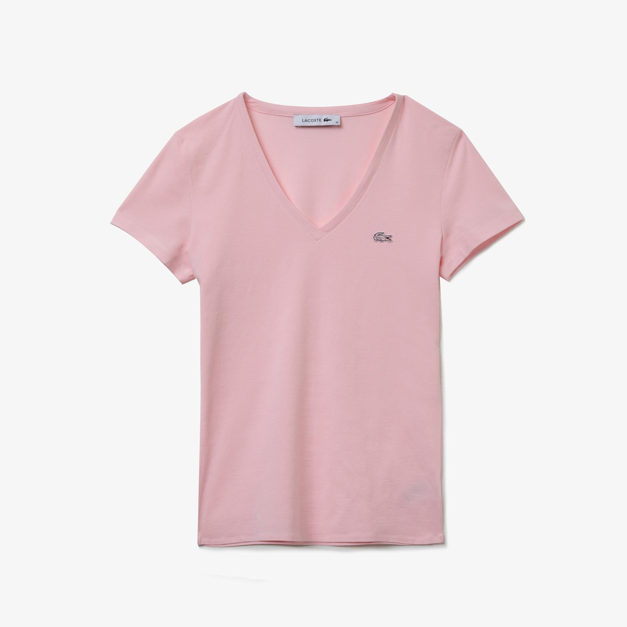 Lacoste Kadın V Yaka Açık Pembe T-Shirt