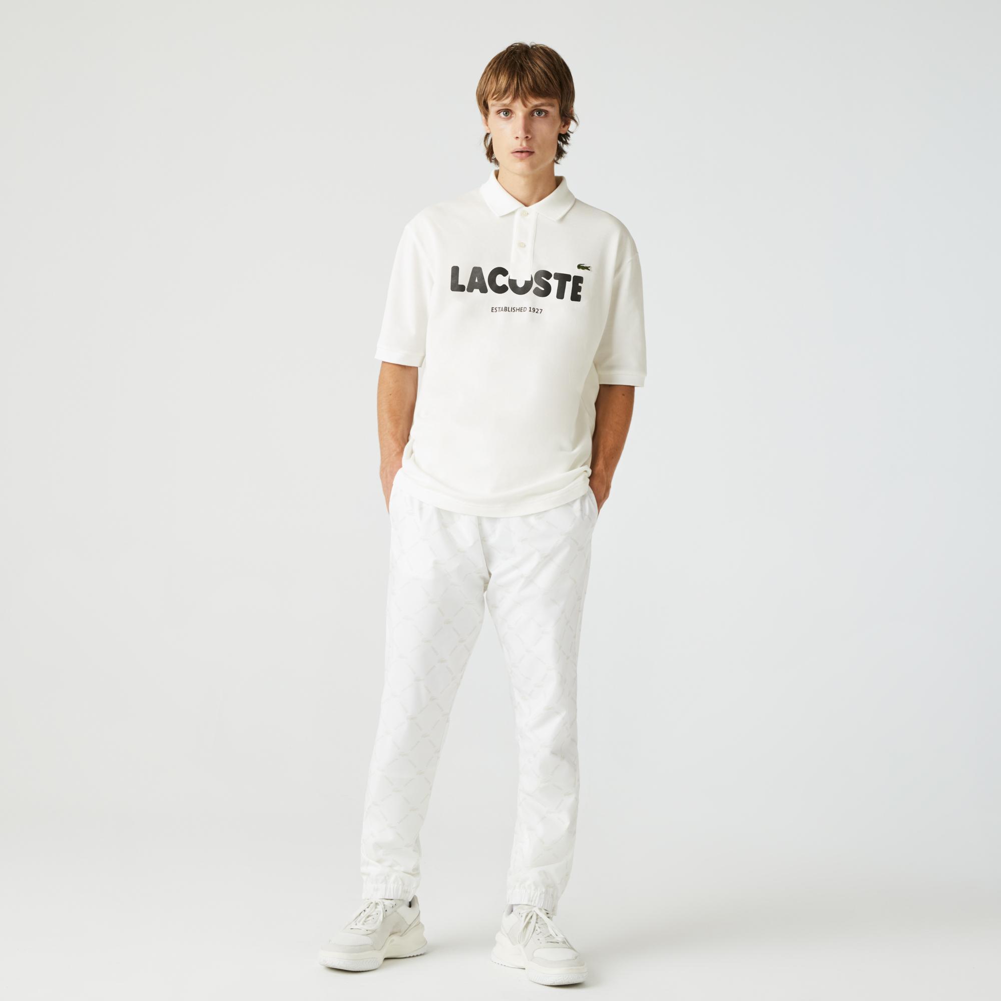 Lacoste L!VE Unisex Loose Fit Baskılı Beyaz Polo