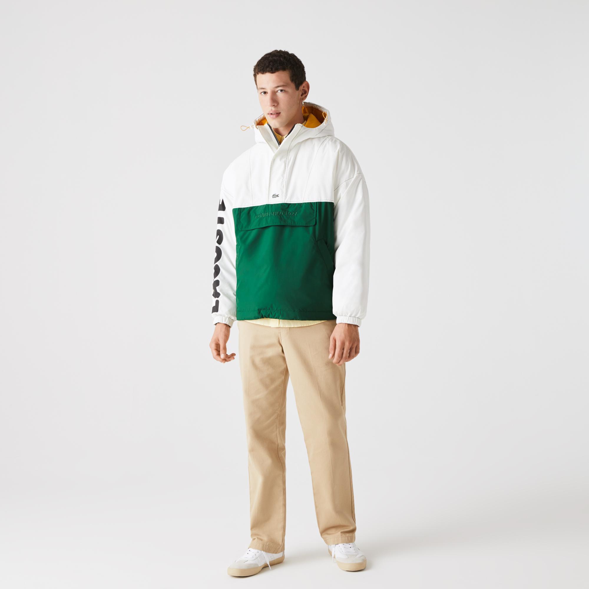 Lacoste L!VE Erkek Blok Desenli Baskılı Kapüşonlu Suya Dayanıklı Beyaz-Yeşil Mont