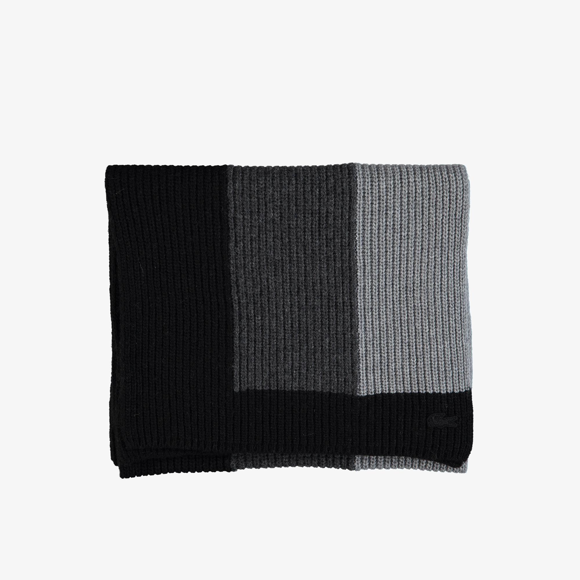 Lacoste Unisex Blok Desenli Siyah Atkı