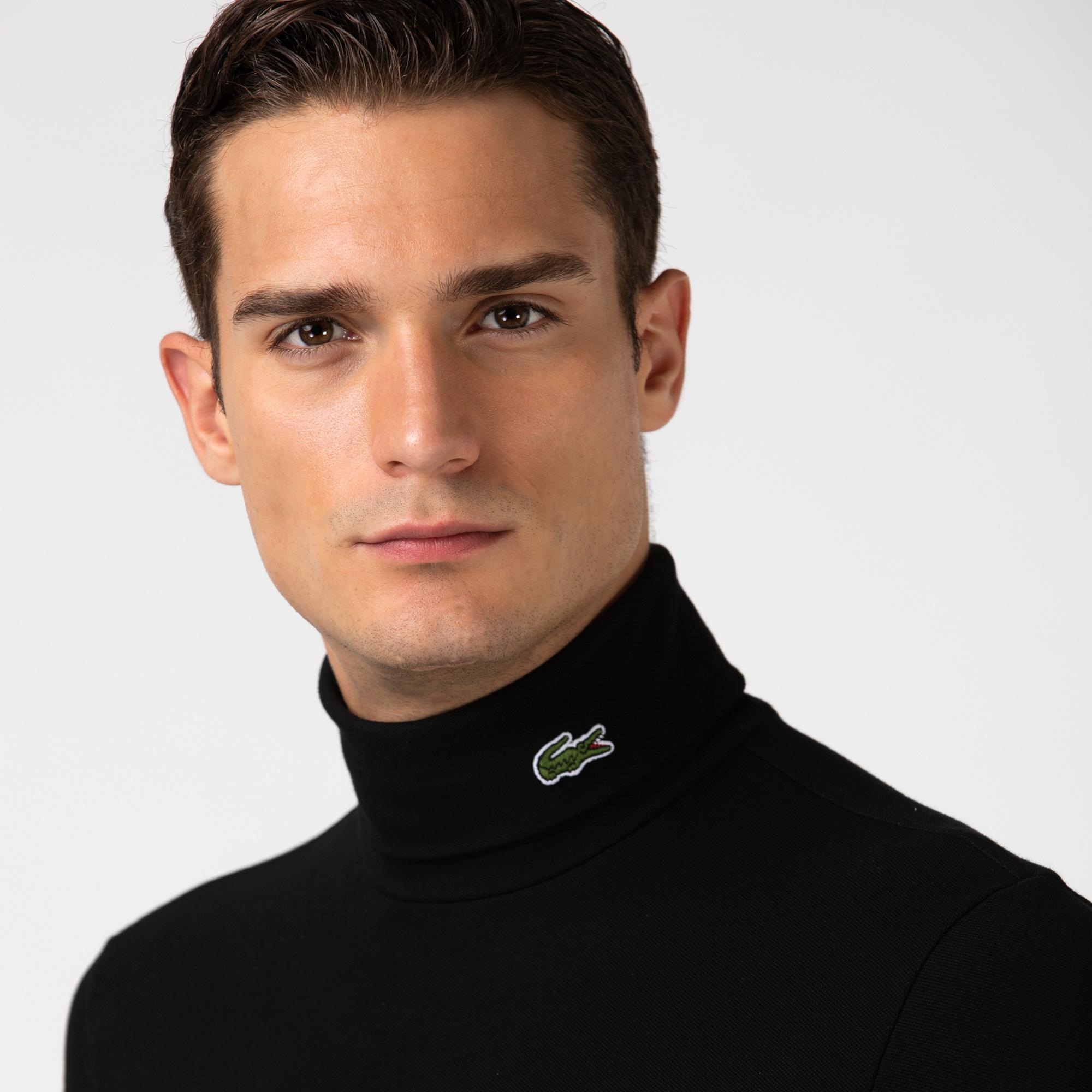 Lacoste Erkek Boğazlı Yaka Uzun Kollu Siyah T-Shirt