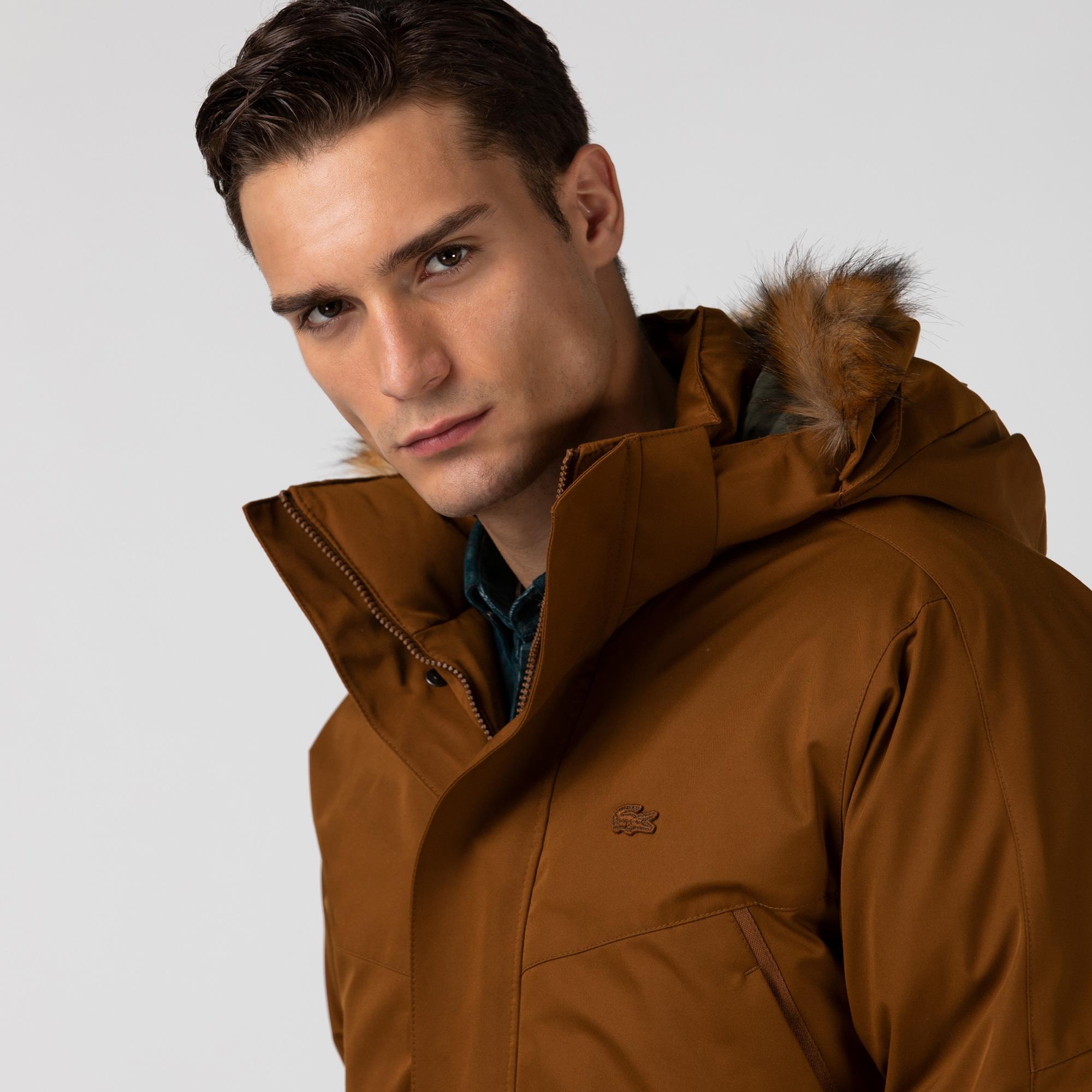 Lacoste Erkek Çıkarılabilir Kapüşonlu Kahverengi Mont