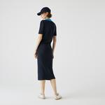 Lacoste Kadın Polo Yaka Kısa Kollu Lacivert Triko Elbise