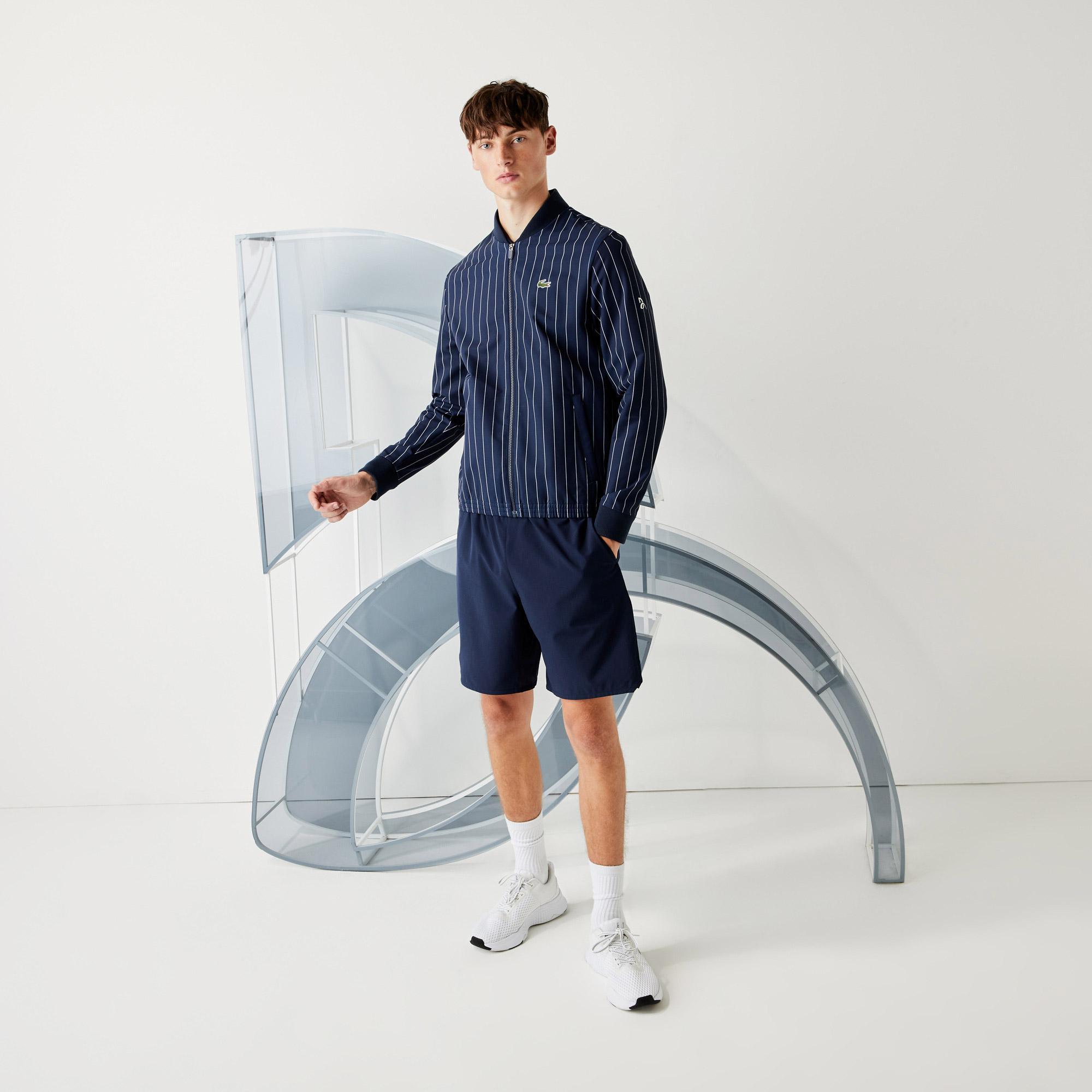Lacoste Sport Novak Djokovic Erkek Çizgili Hakim Yaka Lacivert - Beyaz Mont