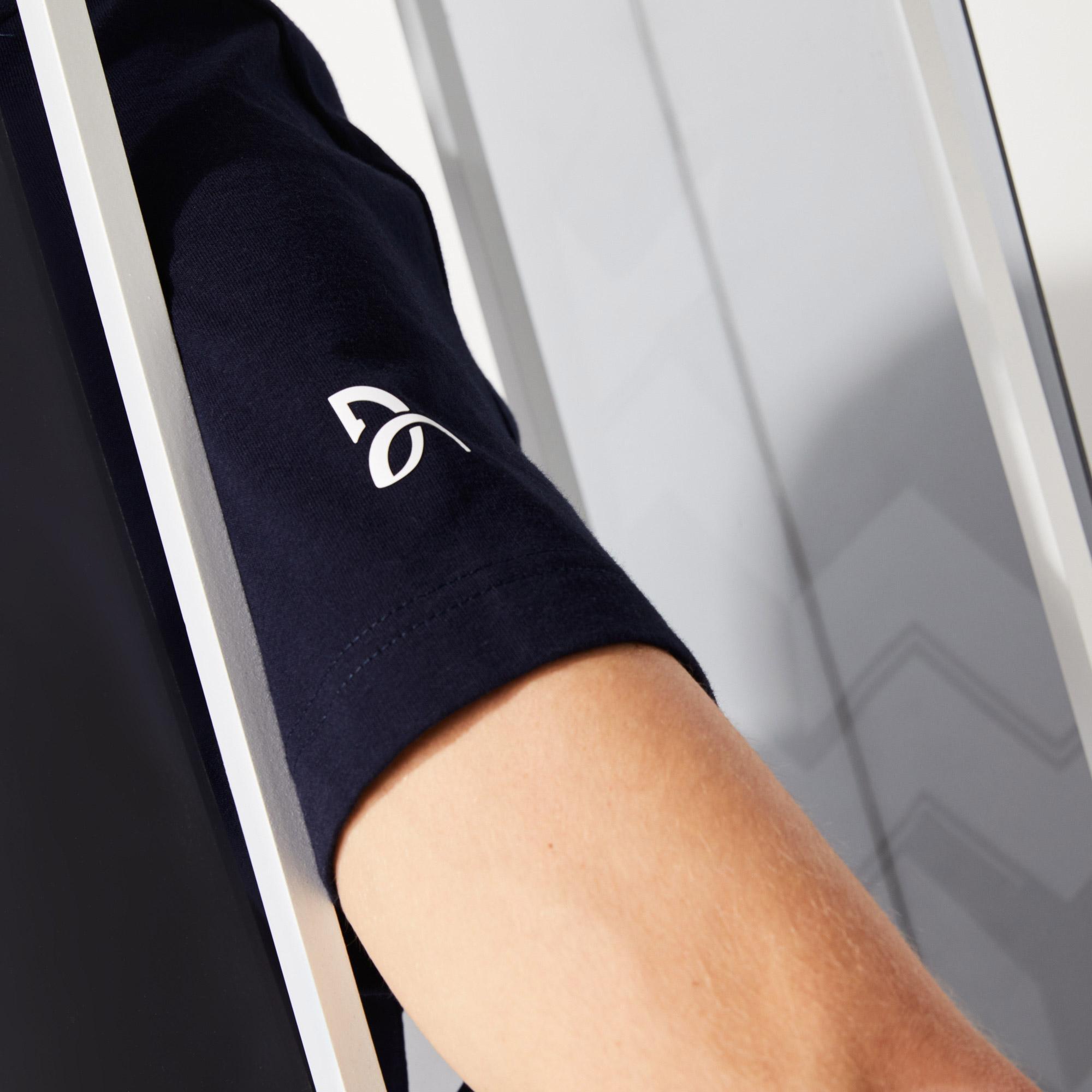 Lacoste Sport Novak Djokovic Erkek Baskılı  Lacivert - Beyaz T-Shirt