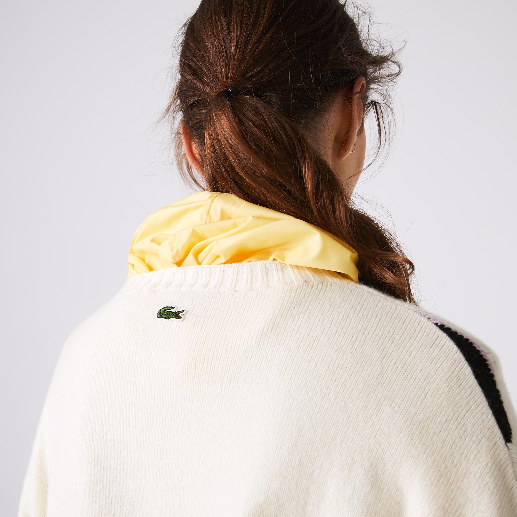 Lacoste L!VE Kadın Desenli Beyaz Triko Kazak