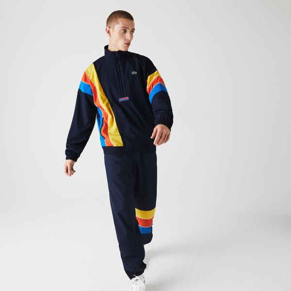 Lacoste Sport Erkek Suya Dayanıklı Blok Desenli Dik Yaka Renkli Mont