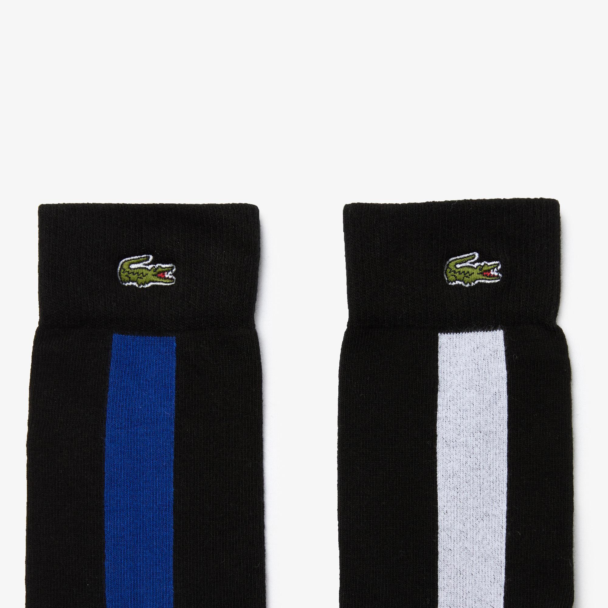 Lacoste Sport Unisex Blok Desenli Uzun Siyah Çorap