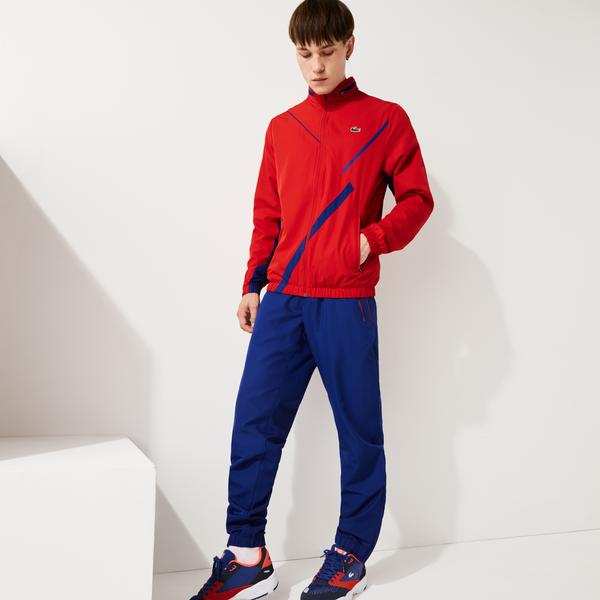 Lacoste Sport Erkek Blok Desenli Fermuarlı Uzun Kollu Kırmızı Eşofman Takımı