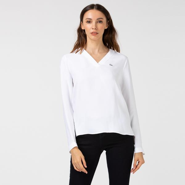 Lacoste Kadın V Yaka Uzun Kollu Beyaz Bluz