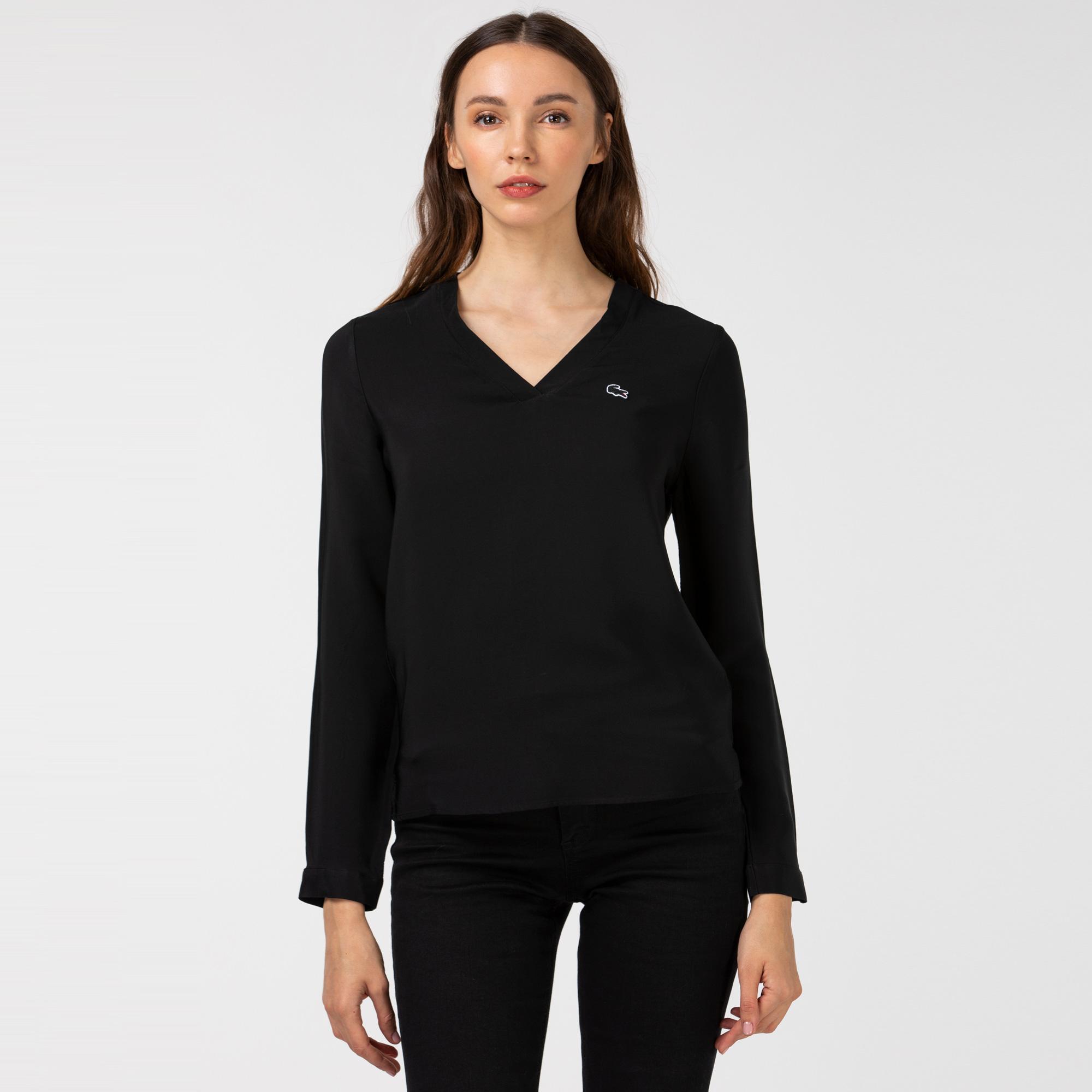 Lacoste Kadın V Yaka Uzun Kollu Siyah Bluz