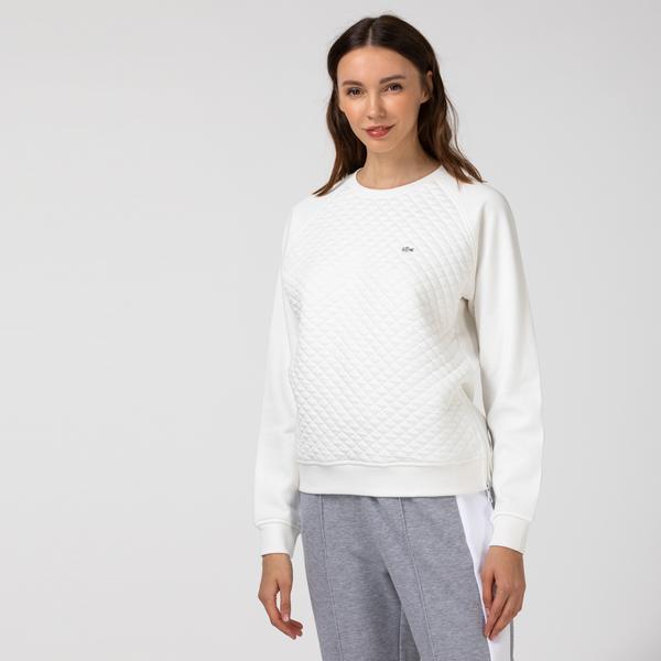 Lacoste Kadın Kapitone Bisiklet Yaka Beyaz Sweatshirt
