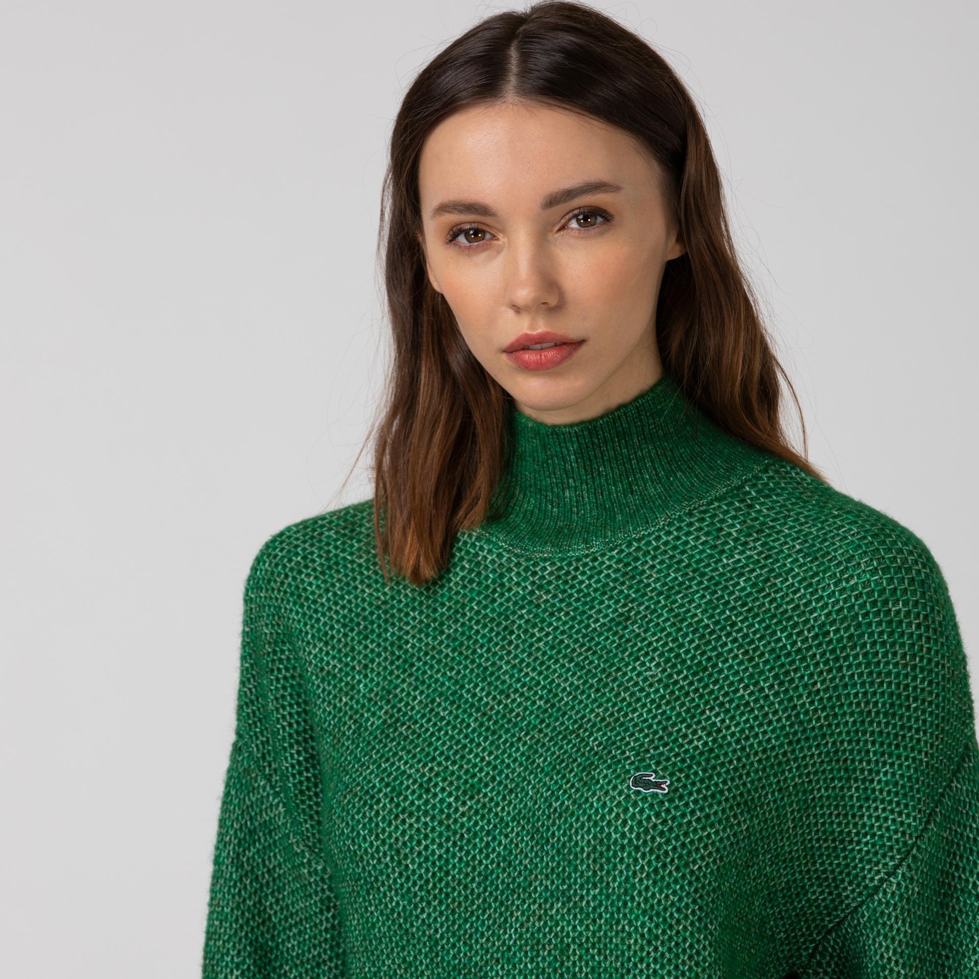 Lacoste Kadın Boğazlı Yaka Yeşil Triko Kazak