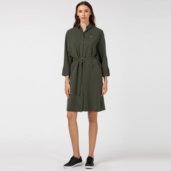 Lacoste Kadın Gömlek Yaka Uzun Kollu Haki Elbise