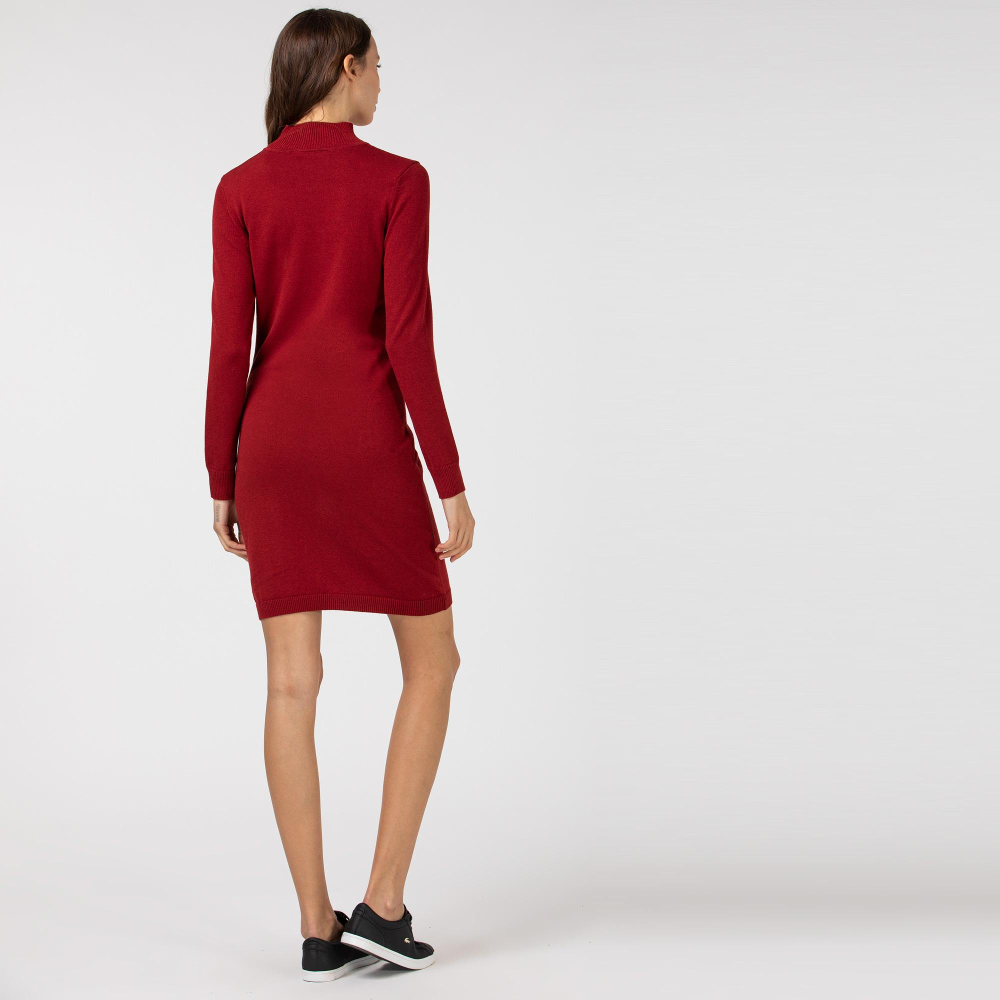 Lacoste Kadın Dik Yaka Uzun Kollu Bordo Elbise