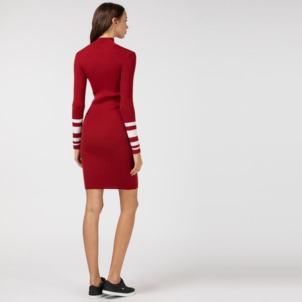 Lacoste Kadın Yün Blok Desenli Dik Yaka Uzun Kollu Bordo Elbise