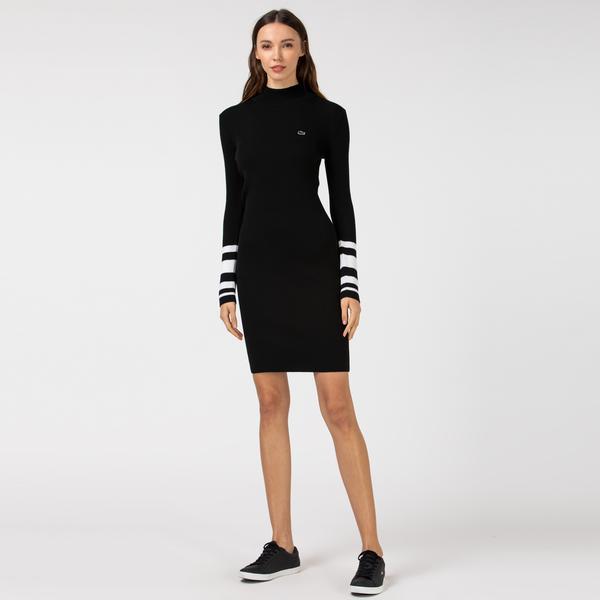 Lacoste Kadın Yün Blok Desenli Dik Yaka Uzun Kollu Siyah Elbise