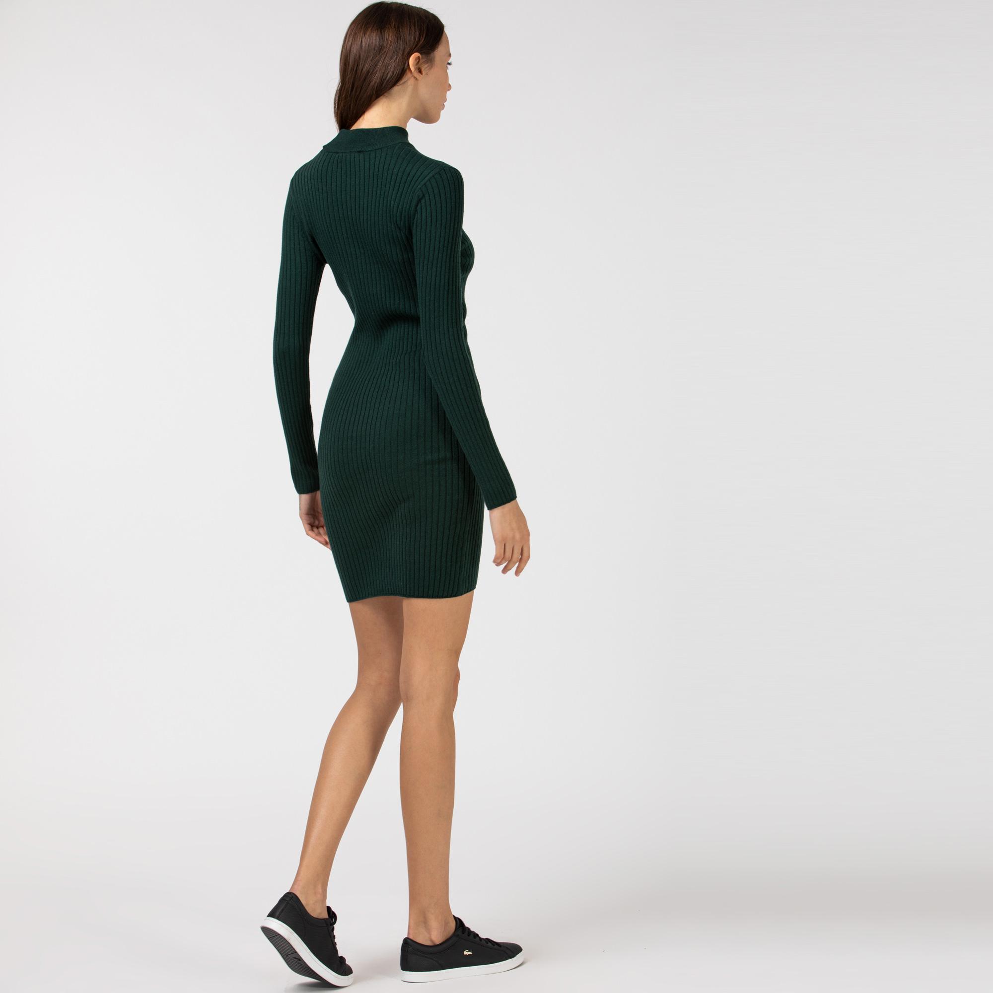 Lacoste Kadın Boğazlı Yaka Uzun Kollu Haki Elbise