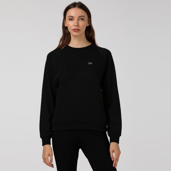 Lacoste Kadın Kapitone Bisiklet Yaka Siyah Sweatshirt