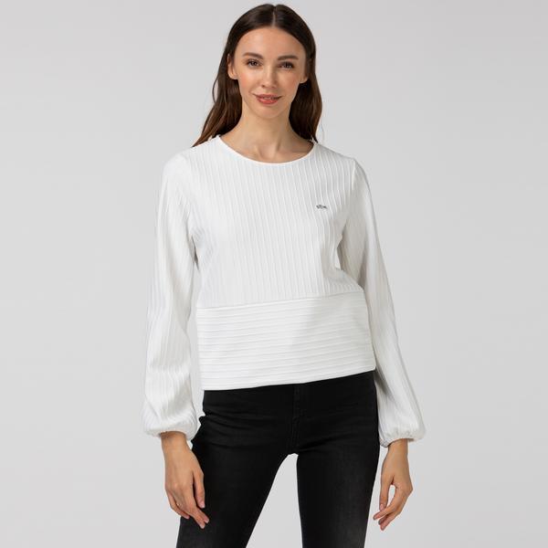 Lacoste Kadın Çizgili Bisiklet Yaka Uzun Kollu Beyaz T-Shirt