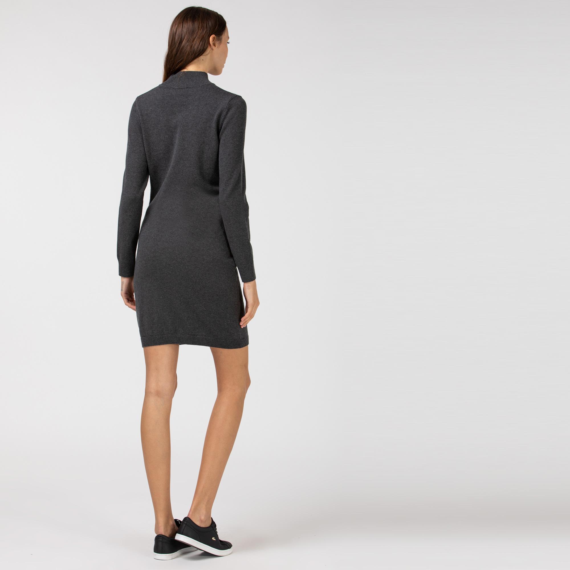 Lacoste Kadın Dik Yaka Uzun Kollu Gri Elbise