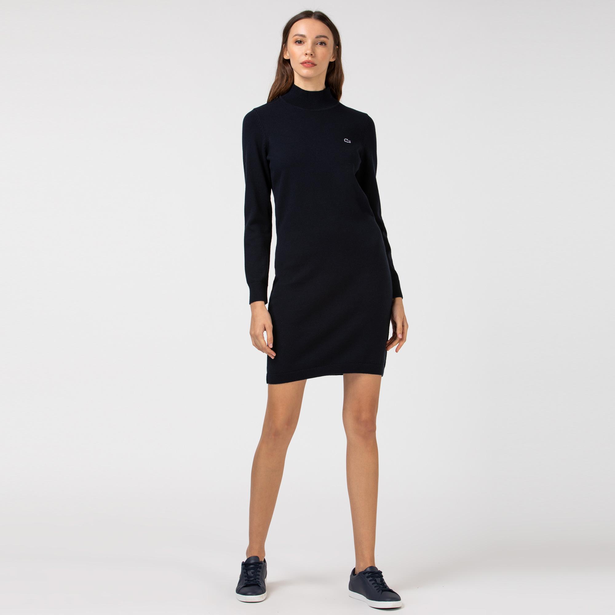 Lacoste Kadın Dik Yaka Uzun Kollu Lacivert Elbise