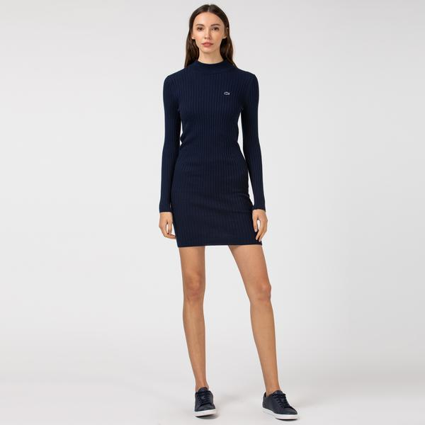Lacoste Kadın Boğazlı Yaka Uzun Kollu Lacivert Elbise