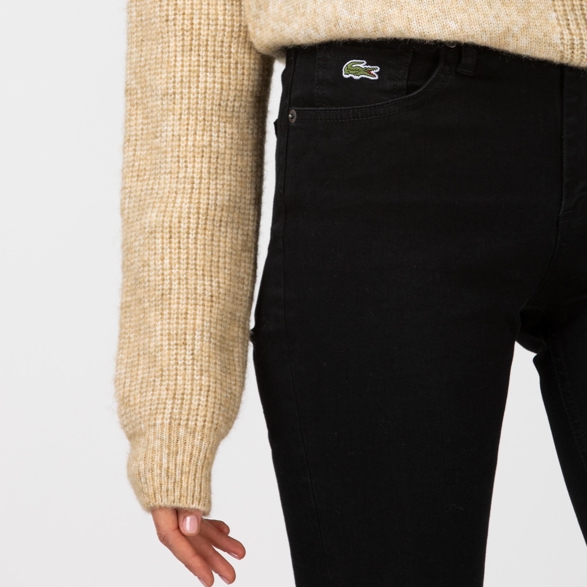 Lacoste Kadın Slim Fit Streç Denim Siyah Pantolon