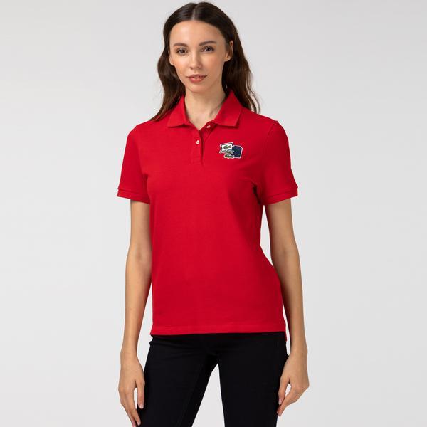 Lacoste Kadın Baskılı Kırmızı Polo
