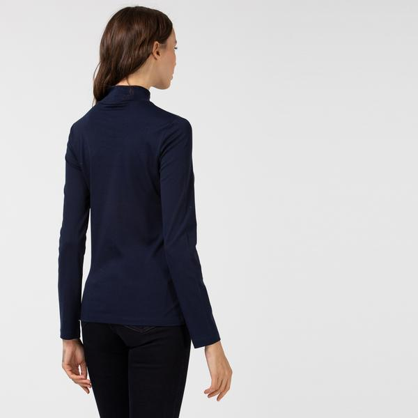 Lacoste Kadın Boğazlı Yaka Uzun Kollu Lacivert T-Shirt