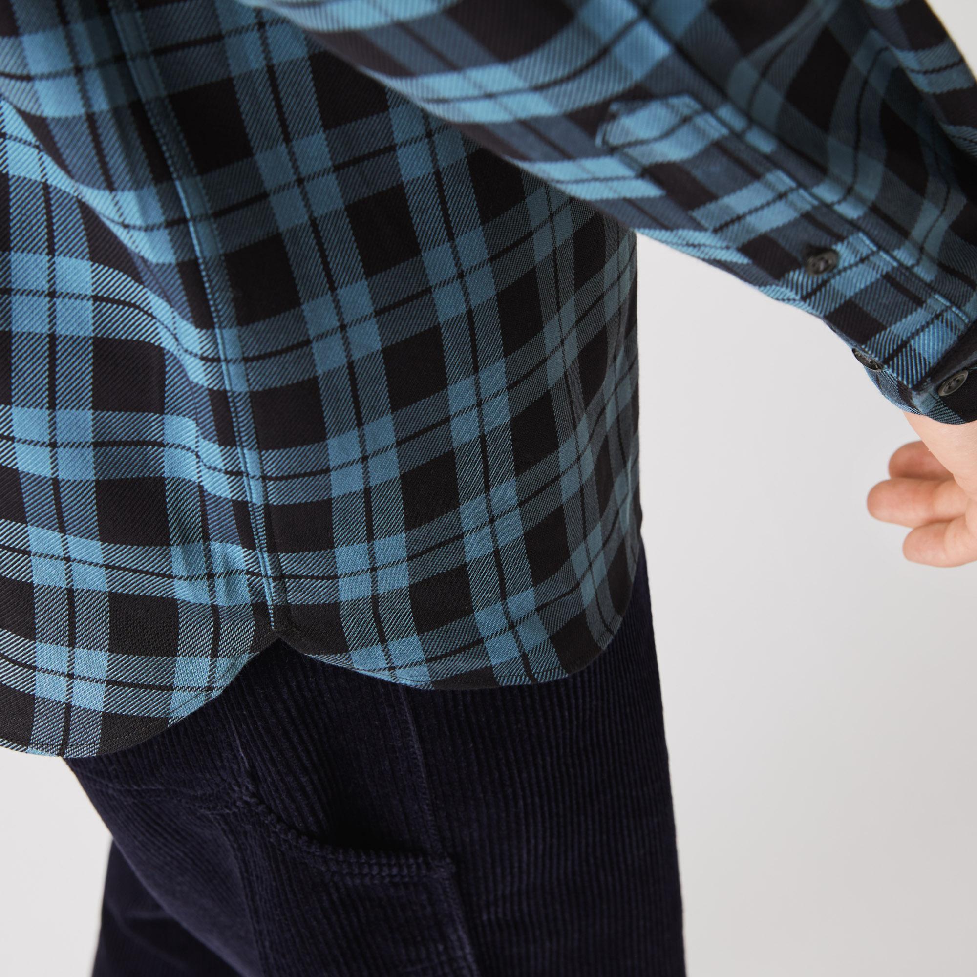 Lacoste L!VE Erkek Regular Fit Ekose Desenli Lacivert Gömlek