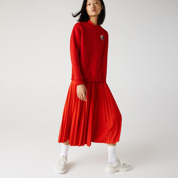 Lacoste Kadın Bisiklet Yaka Baskılı Kırmızı Sweatshirt