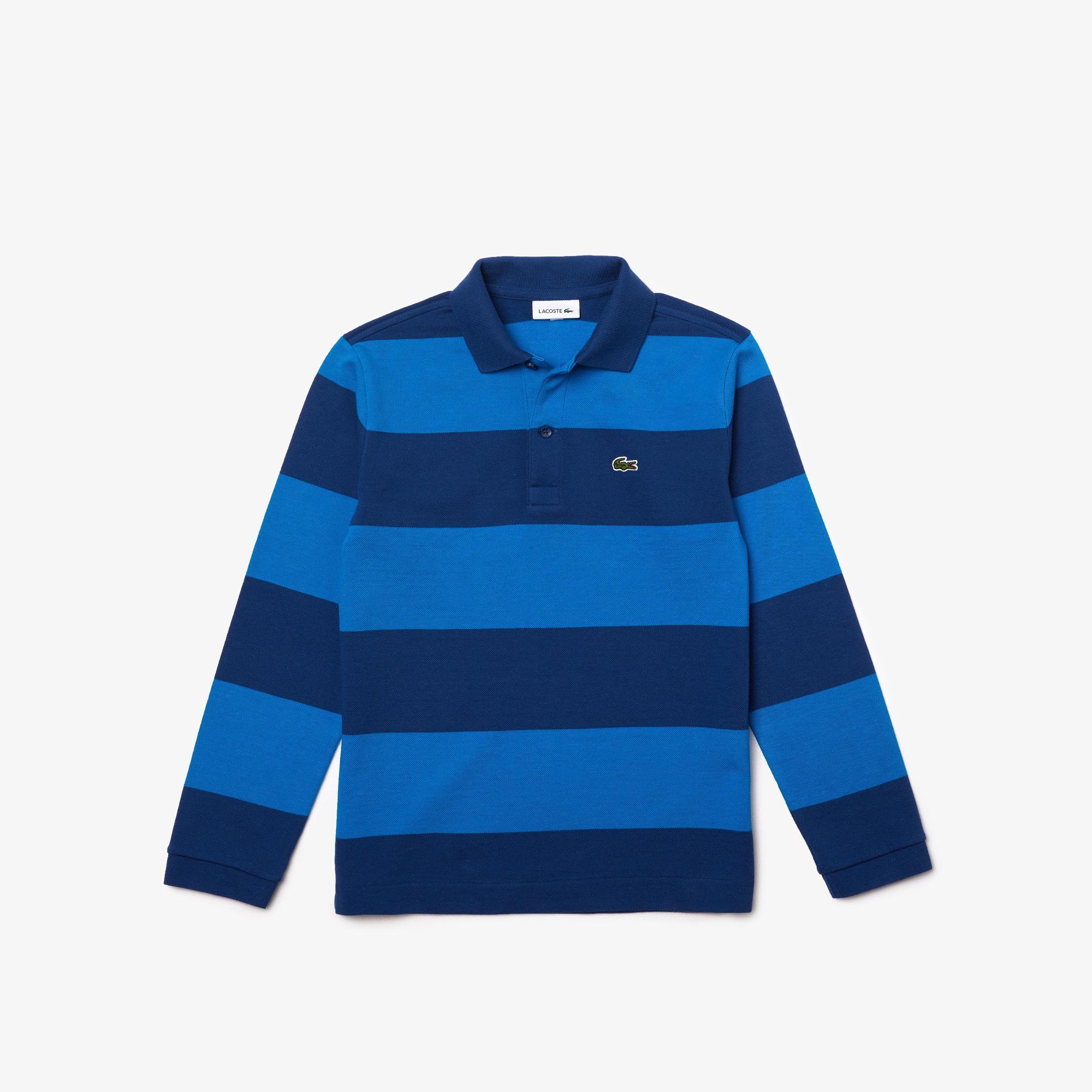 Lacoste Çocuk Çizgili Uzun Kollu Lacivert - Mavi Polo