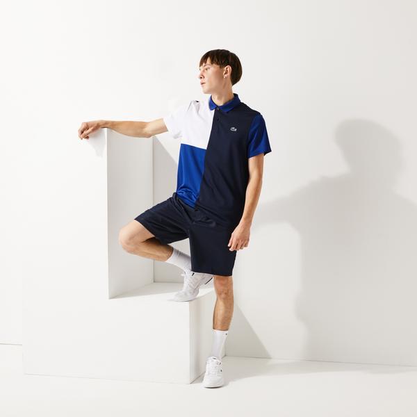 Lacoste Sport Erkek Blok Desenli Mavi Polo