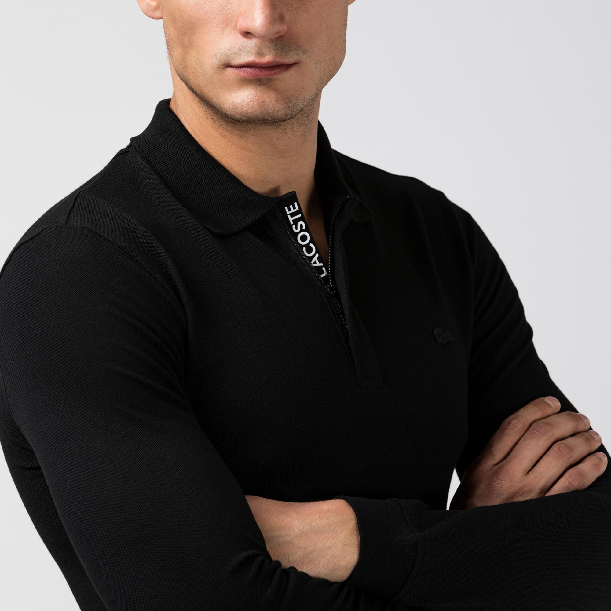 Lacoste Erkek Slim Fit Fermuar Yaka Uzun Kollu Siyah Polo