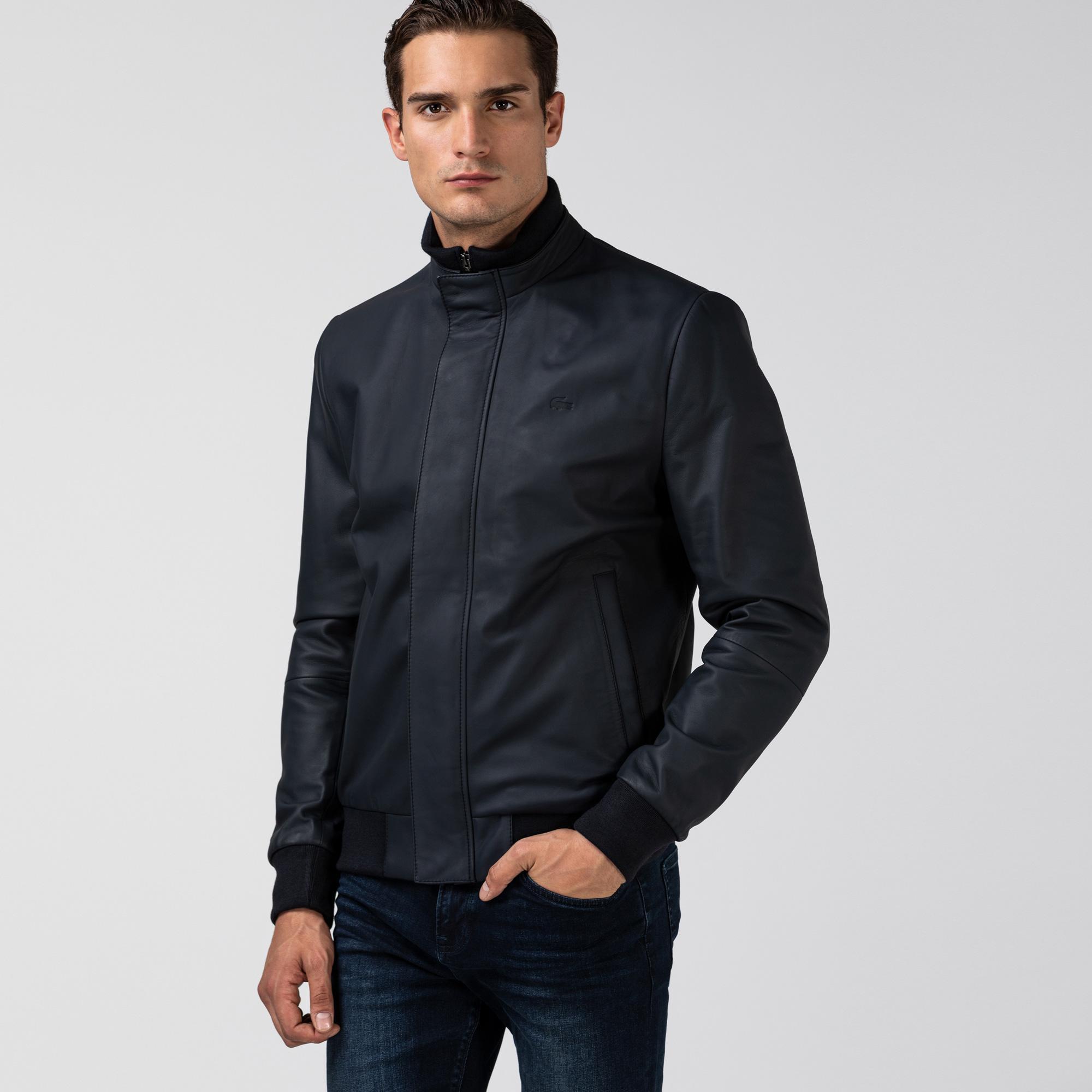 Lacoste Erkek Dik Yaka Deri Lacivert Ceket