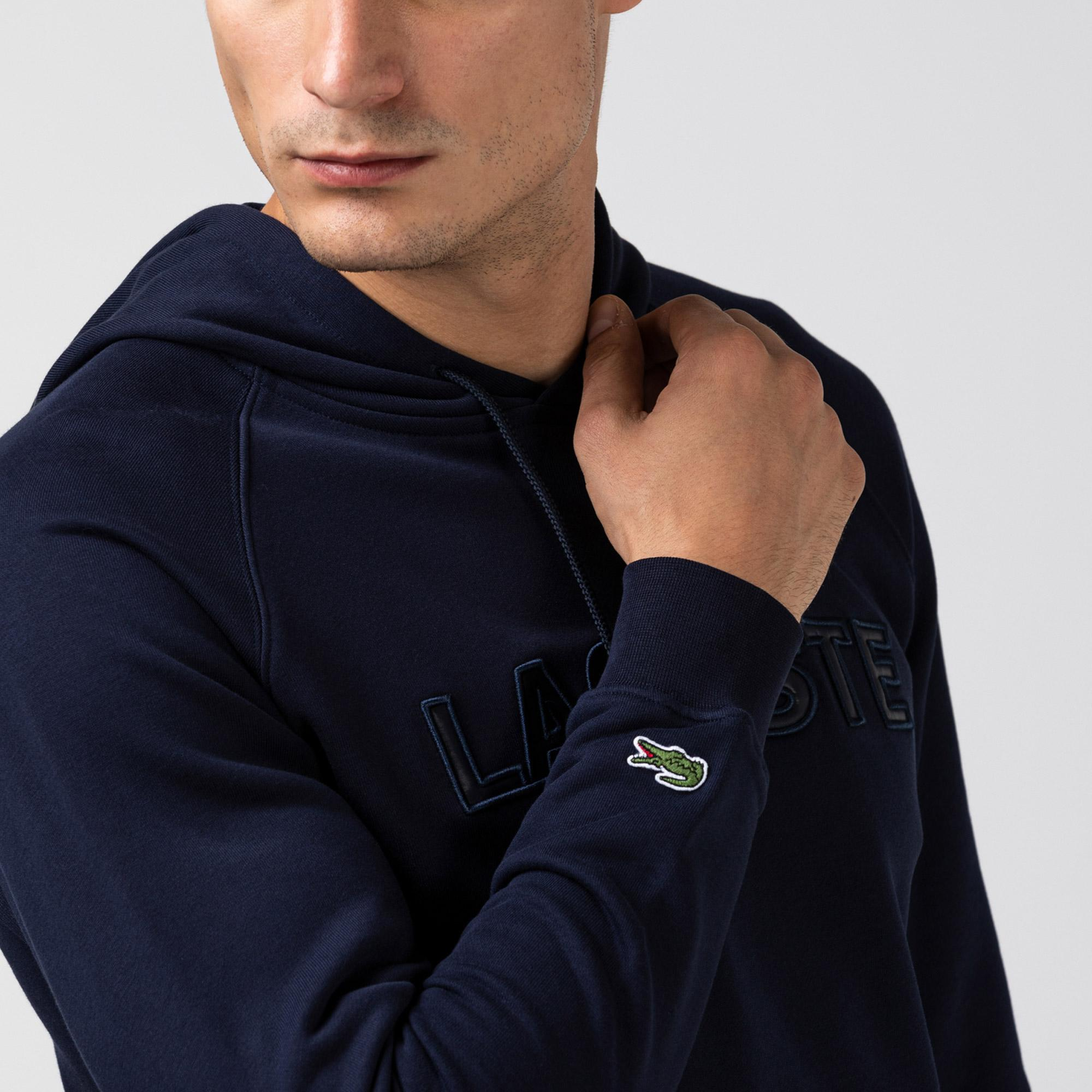 Lacoste Erkek Baskılı Kapüşonlu Lacivert Sweatshirt