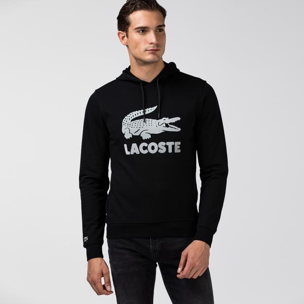 Lacoste Erkek Timsah Baskılı Kapüşonlu Siyah Sweatshirt