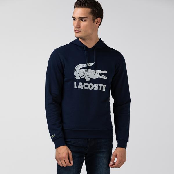 Lacoste Erkek Timsah Baskılı Kapüşonlu Lacivert Sweatshirt