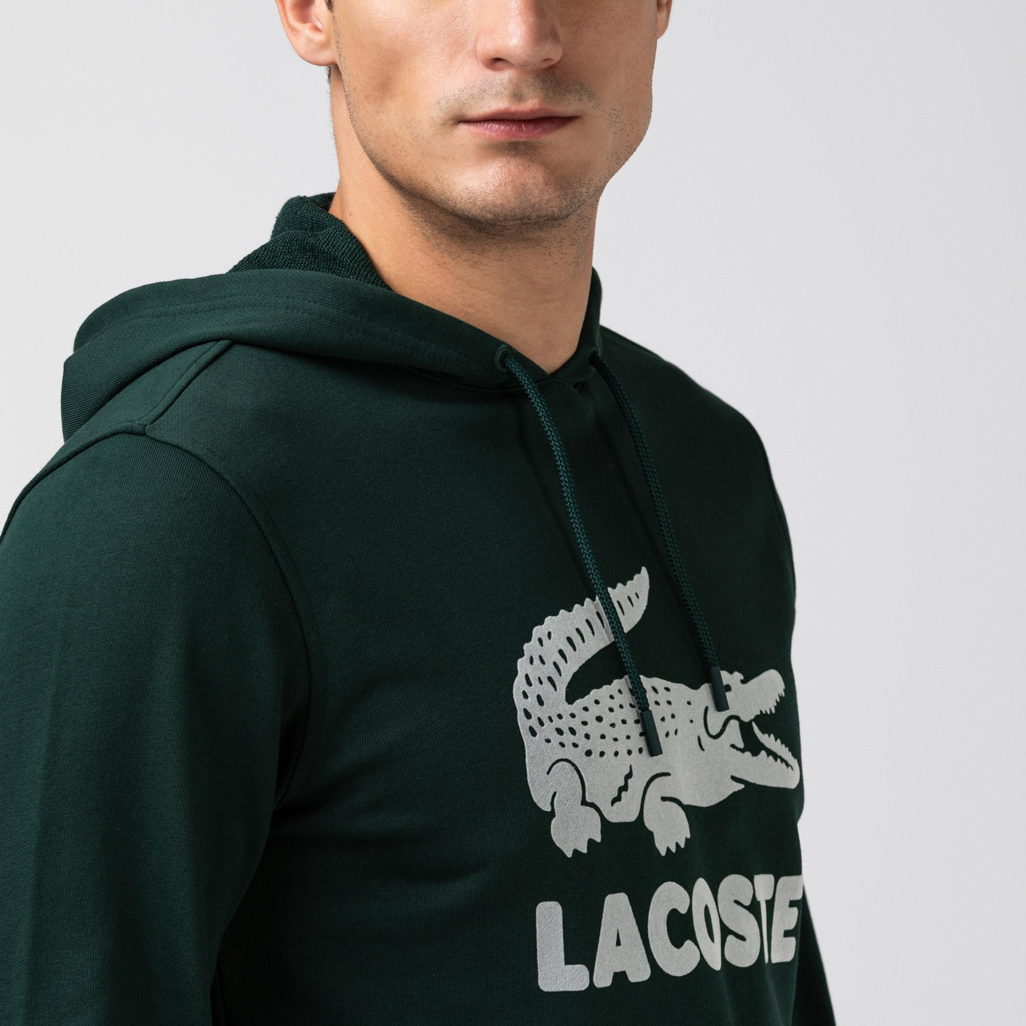 Lacoste Erkek Timsah Baskılı Kapüşonlu Haki Sweatshirt
