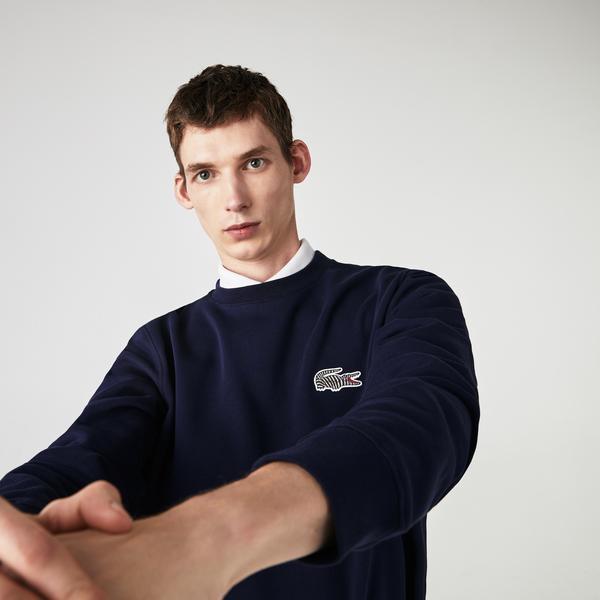 Lacoste x National Geographic Erkek Bisiklet Yaka Lacivert Sweatshirt