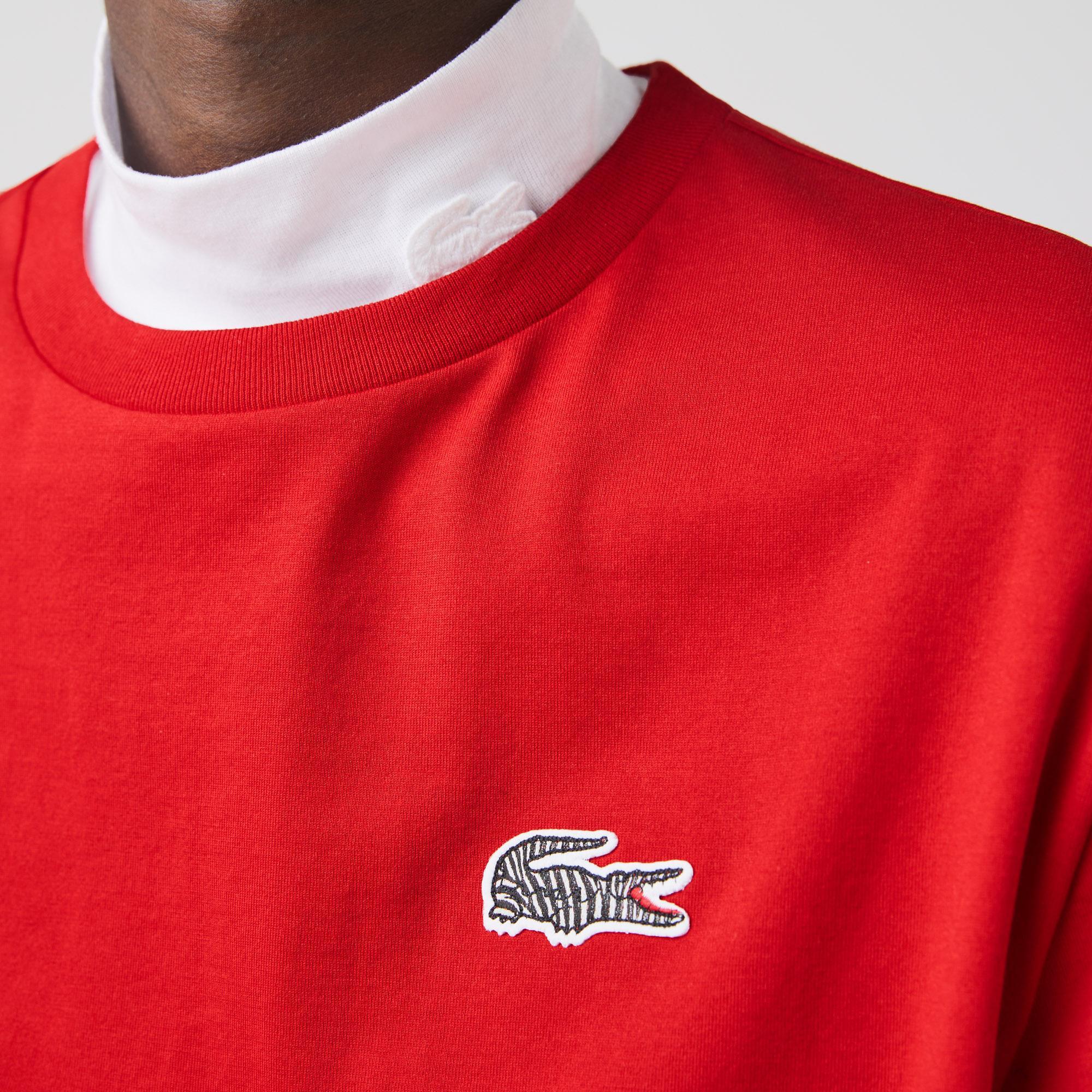 Lacoste x National Geographic Kadın Bisiklet Yaka Kırmızı T-Shirt