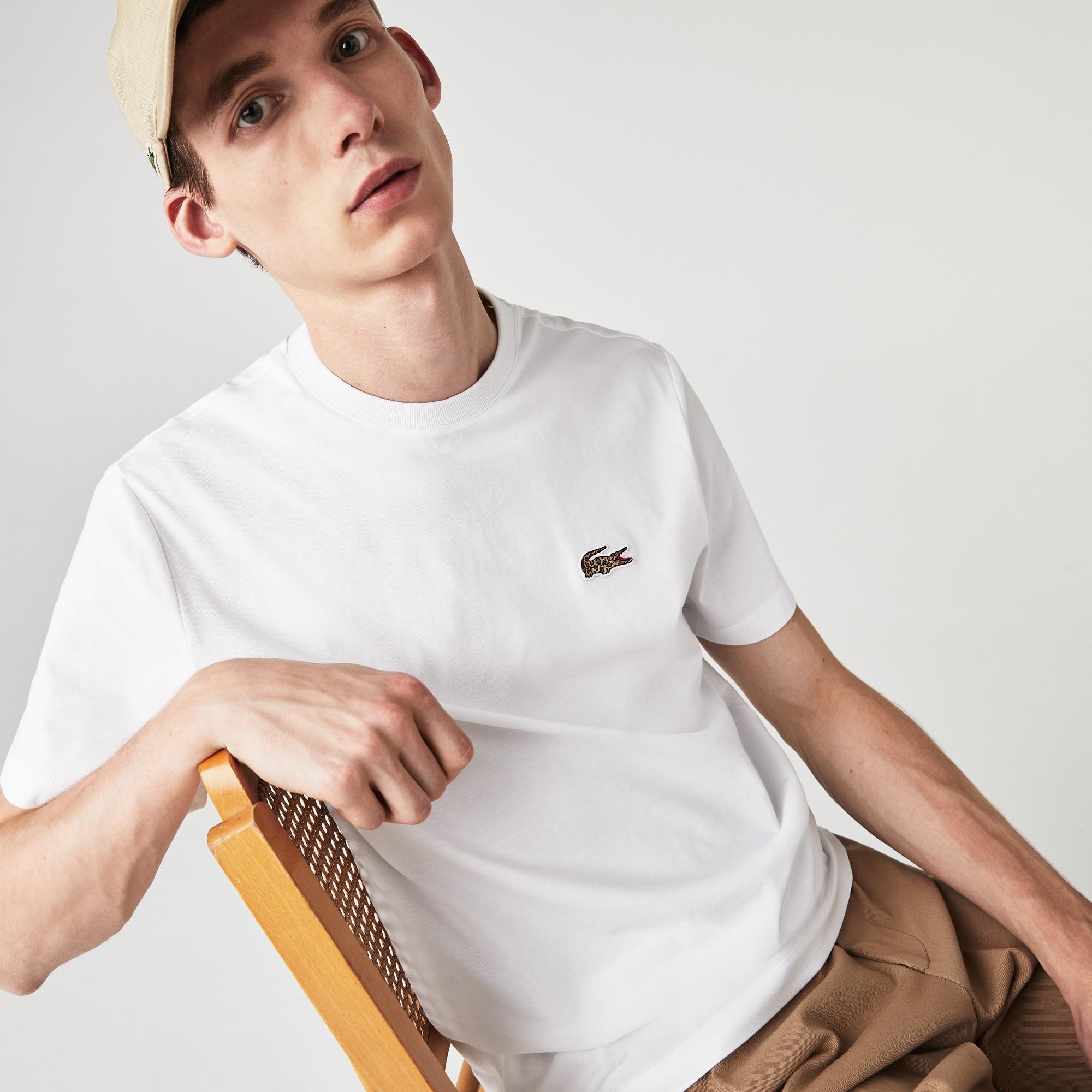 Lacoste x National Geographic Erkek Bisiklet Yaka Regular Fit Beyaz T-Shirt
