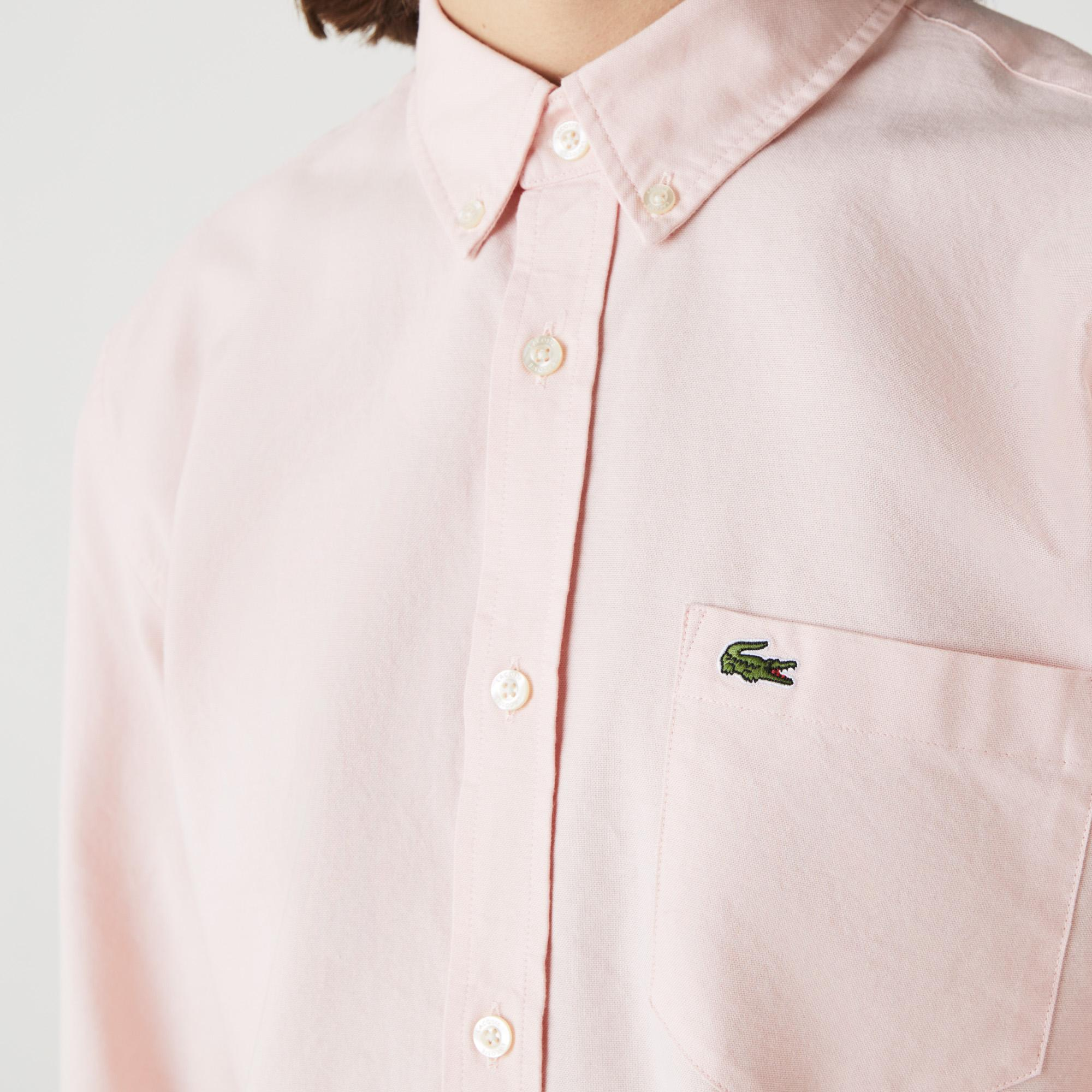 Lacoste Erkek Regular Fit Düğmeli Yaka Pembe Gömlek