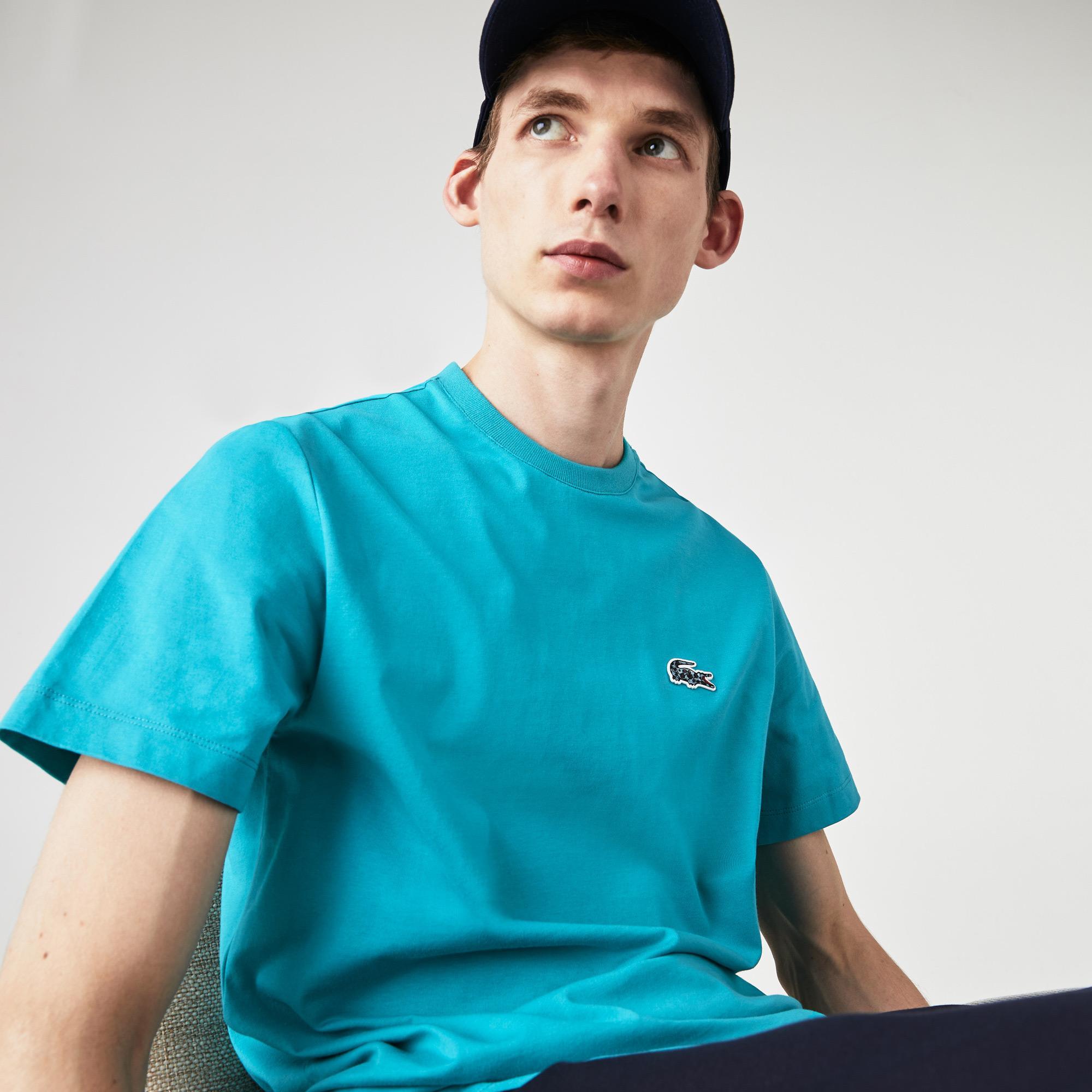 Lacoste x National Geographic Erkek Bisiklet Yaka Kısa Kollu Regular Fit Mavi T-Shirt