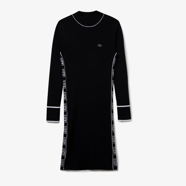 Lacoste Kadın Dik Yaka Uzun Kollu Baskılı Siyah Elbise