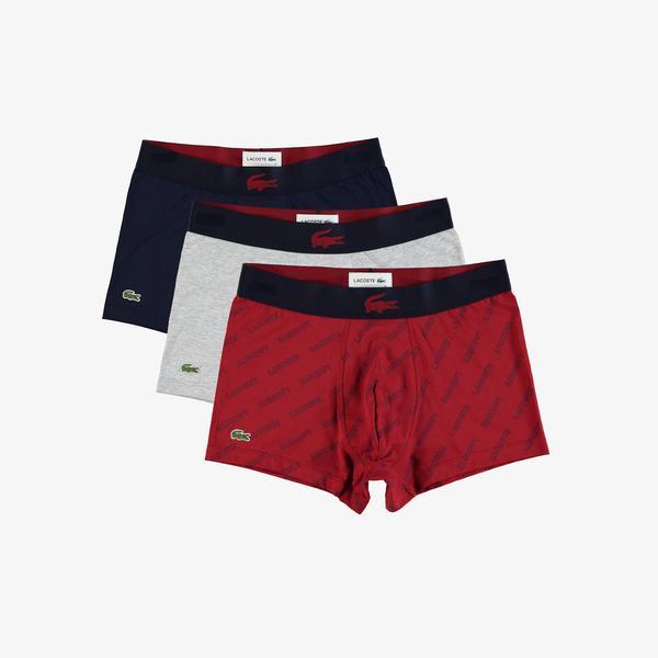 Lacoste Erkek Baskılı Kırmızı - Gri - Lacivert 3'lü Boxer