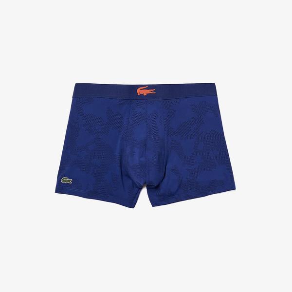 Lacoste Erkek Desenli Mavi Boxer
